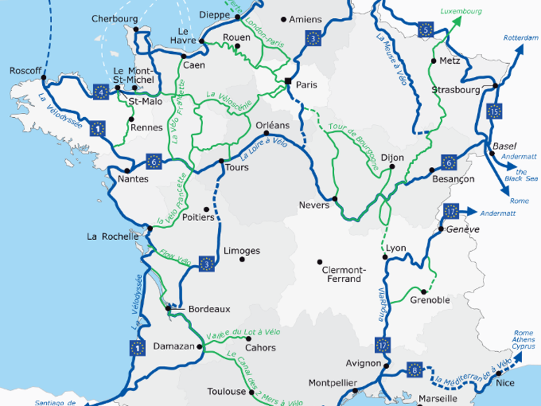 France Vélo Tourisme, covering all the French national cycle routes
